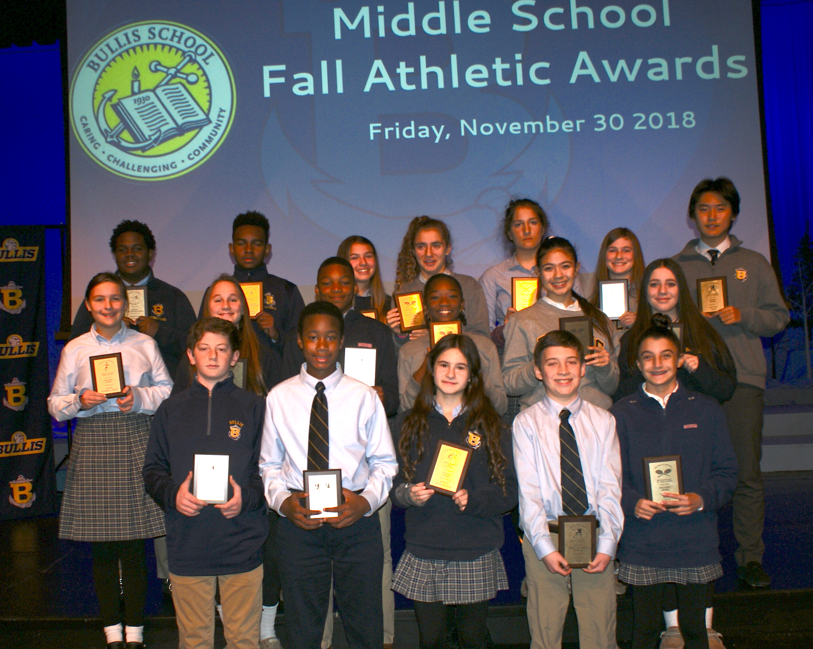 middle school students celebrated at fall athletic awards ceremony